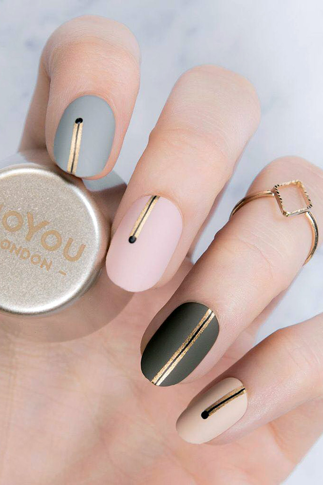Short matte nail designs with gold, black, pink, gray and beige