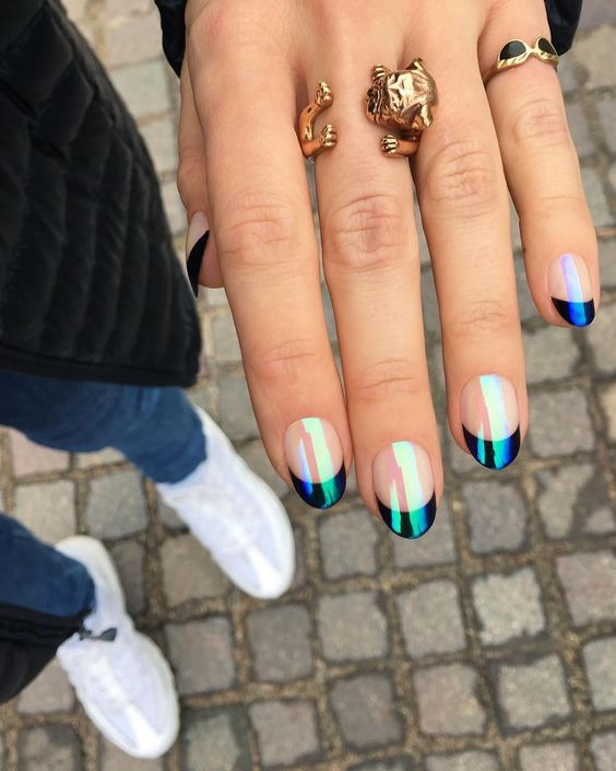 French tip holographic black short nails