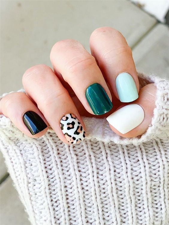 Colorful short nail designs with animal patterns