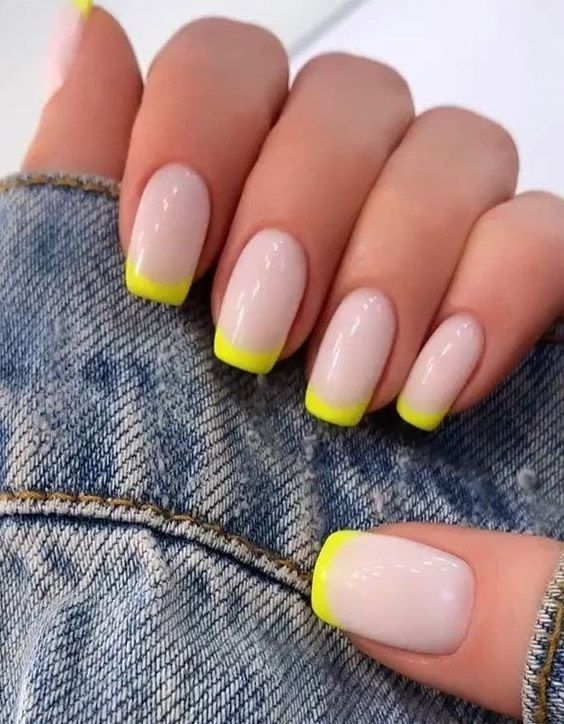 Neon Yellow French Tip Short Nail Designs
