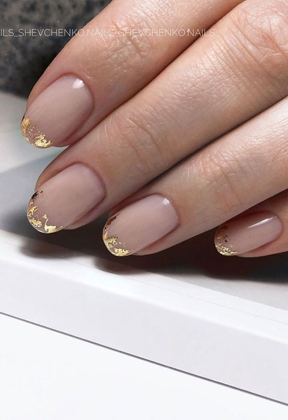 French tip short nails with gold foil