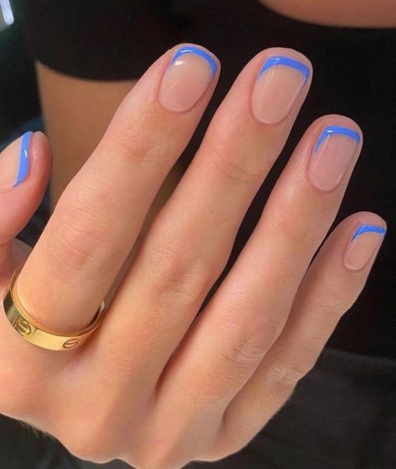 Short blue french tip nail designs