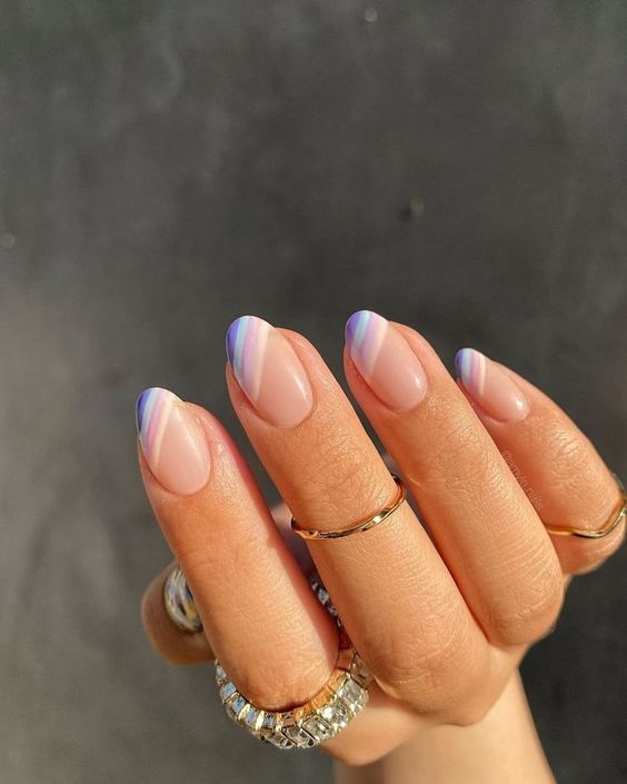 Pink and Purple French Tips Short Nail Designs