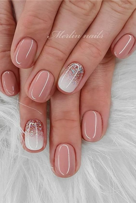Sparkling white and pink short nail designs