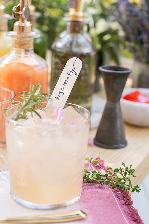 Mixed drinks with rosemary
