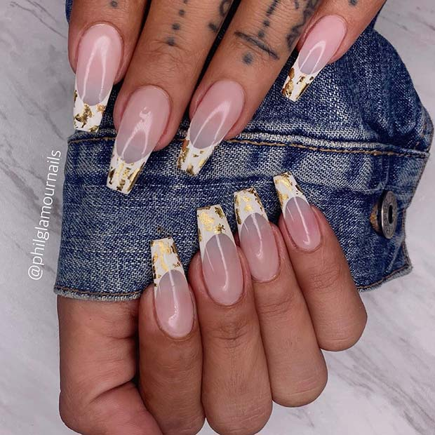 Nude nails with white and gold tips