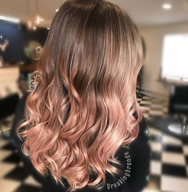 Sweet rose gold ombre hair