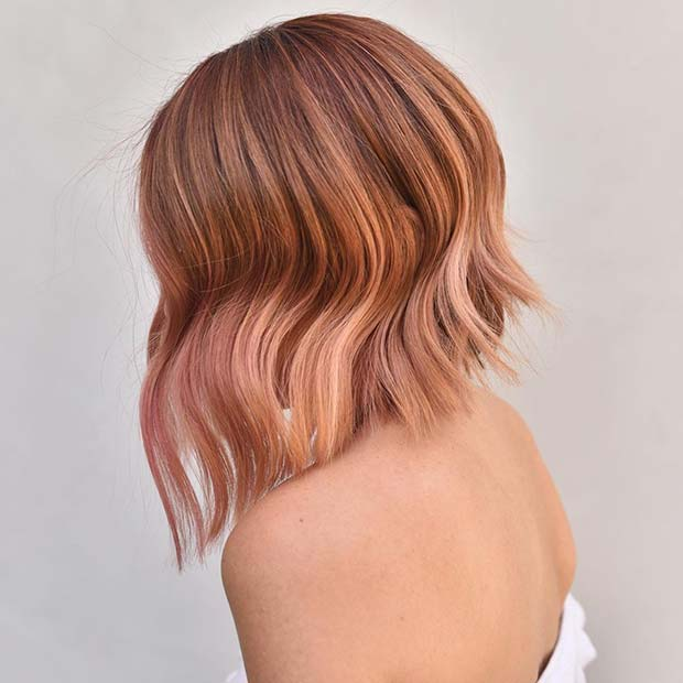 Rose gold balayage bob hairstyle