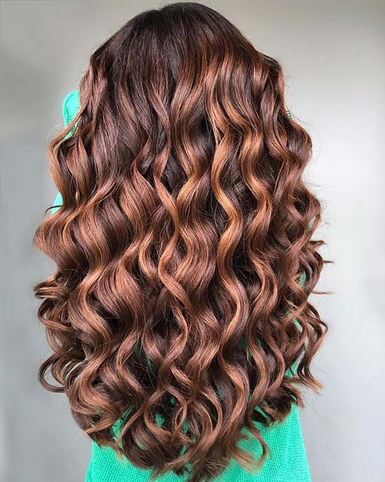 Caramel highlights for long curly hair