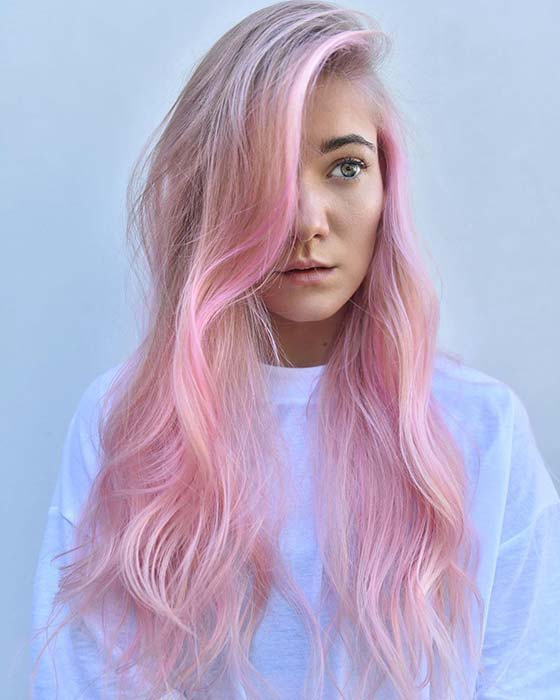 Cotton candy pink hair color