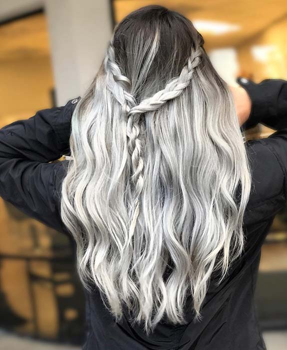 Black and gray ombre hair idea