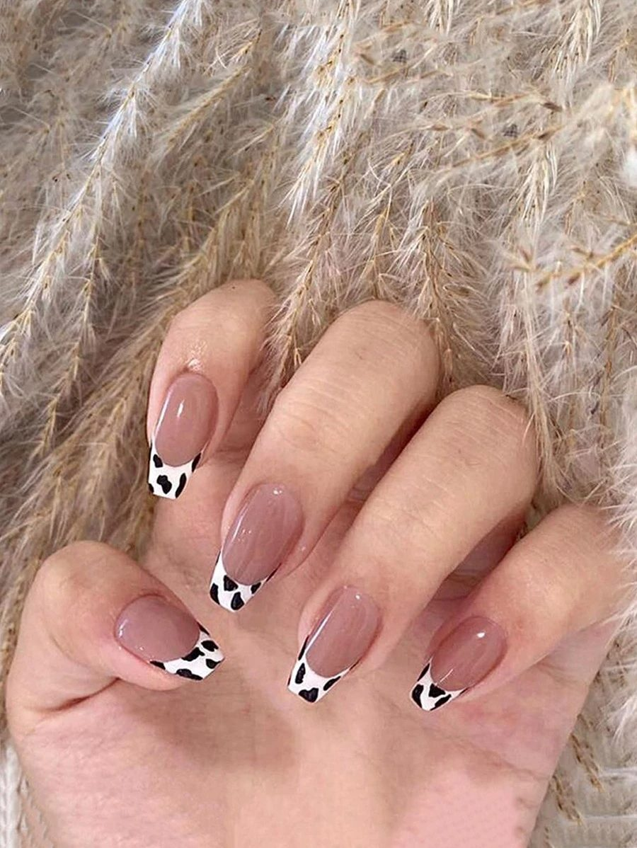 French nail designs with cow print