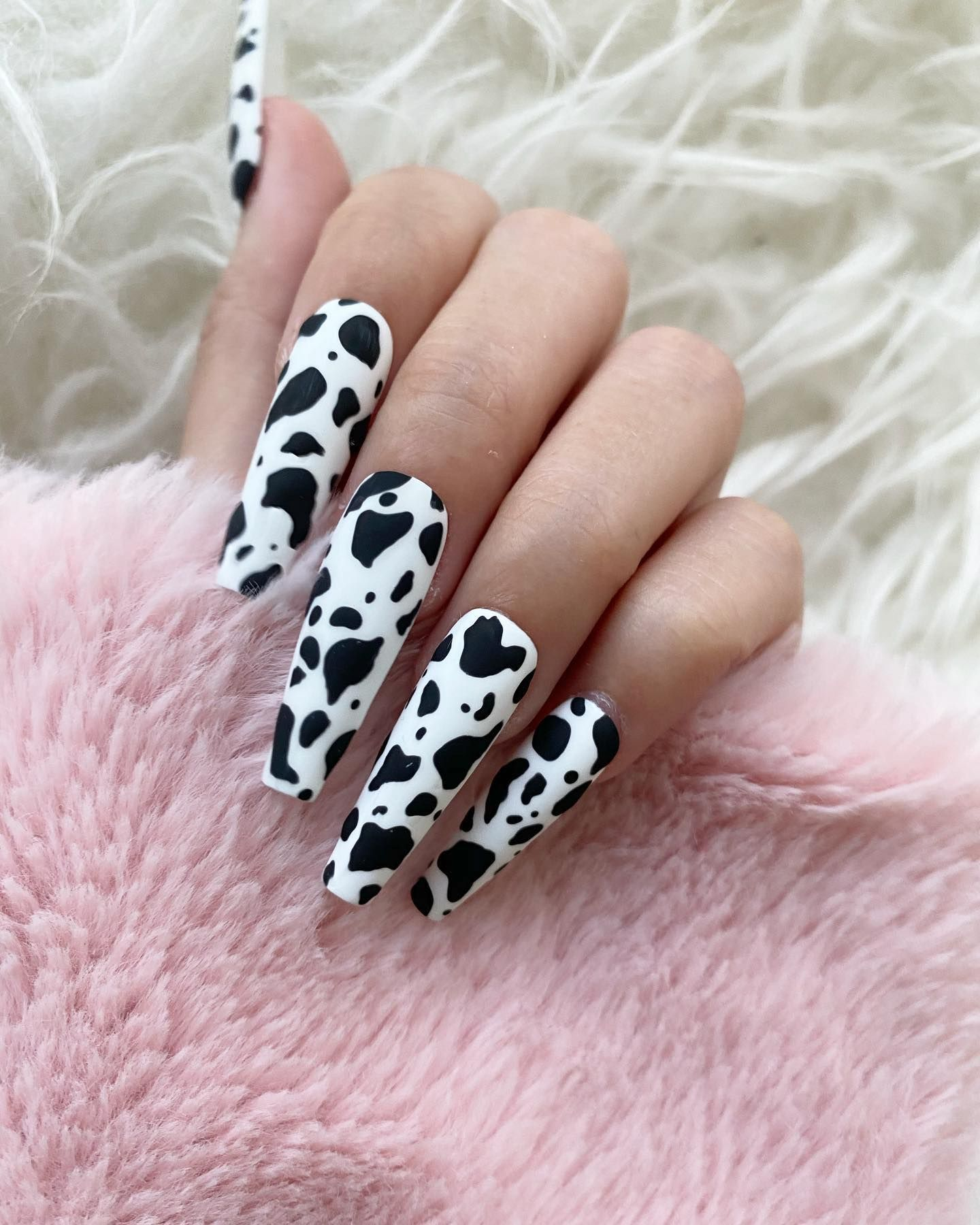 Black and white acrylic coffin cow nails