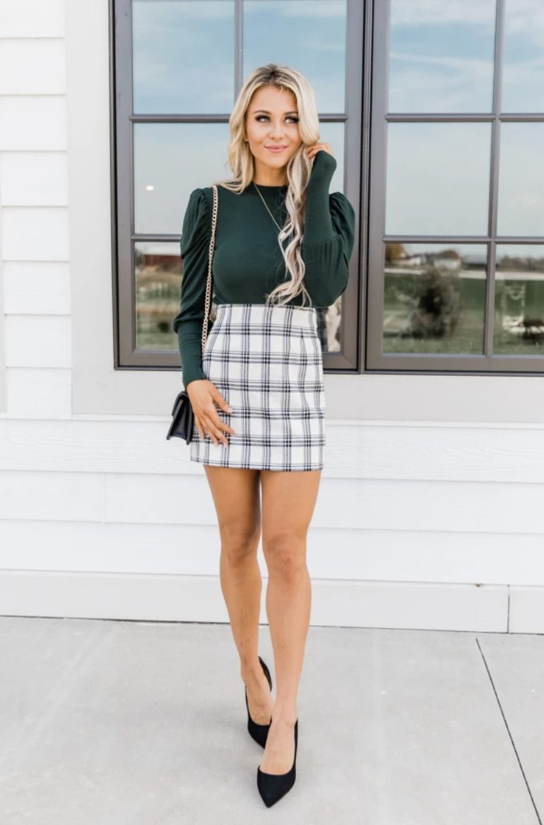 Nice checkered skirt suit - business casual work clothes