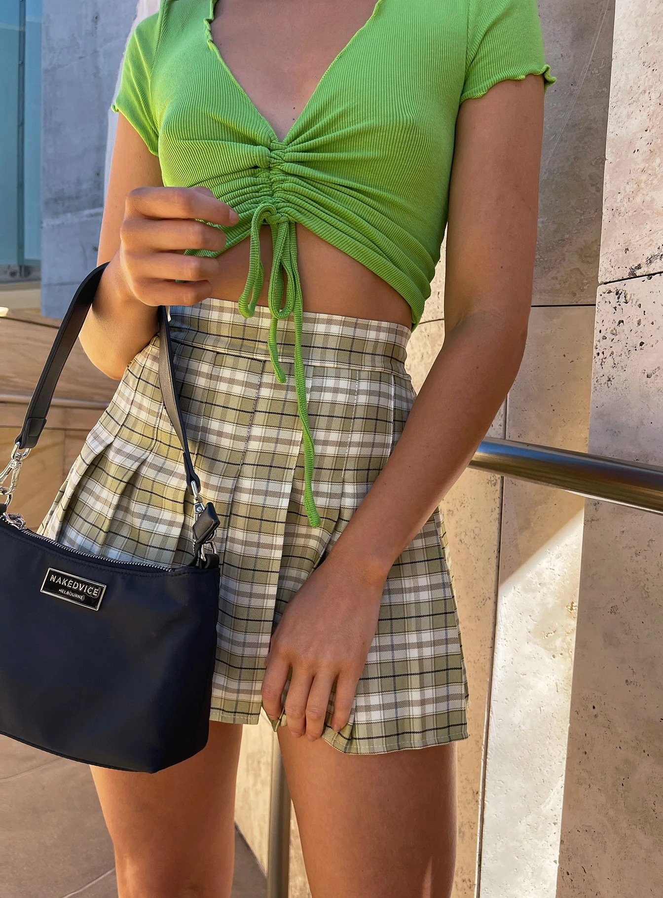 Green checked mini skirt with a crop top