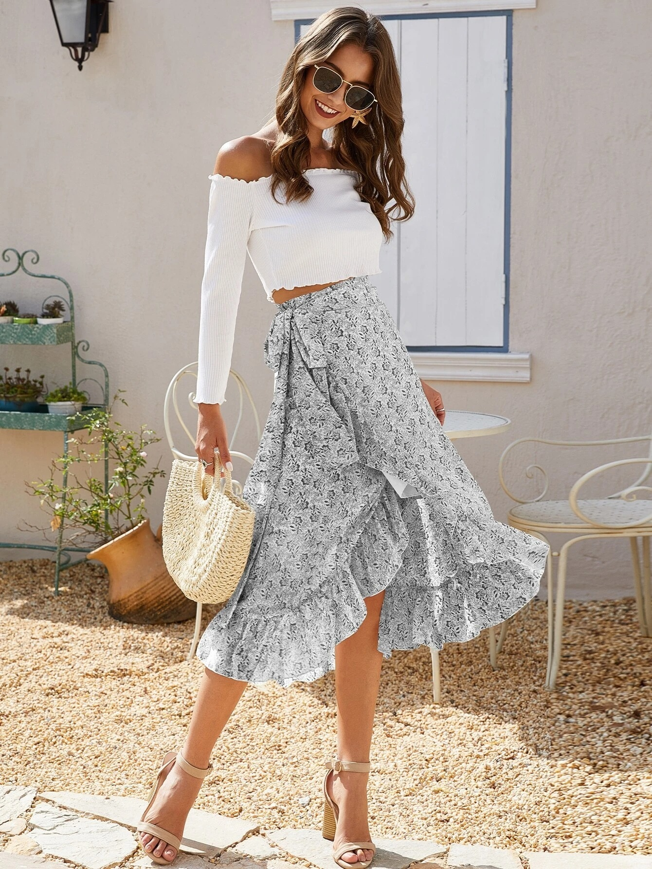 Blue flowing midi skirt with white crop top