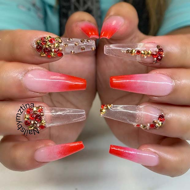 Trendy ombre nails with rhinestones