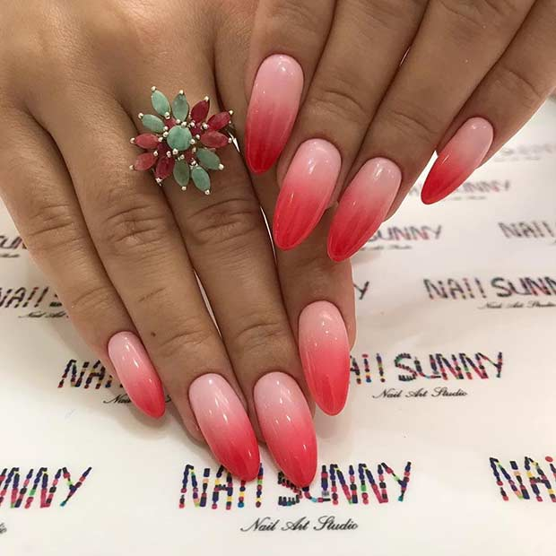Red ombre almond nails