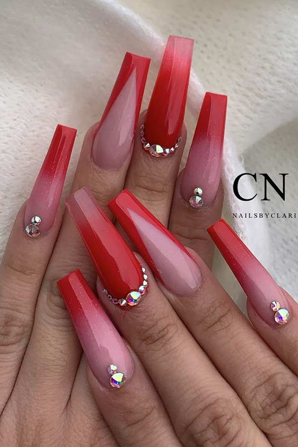 Naked and red ombre coffin nails