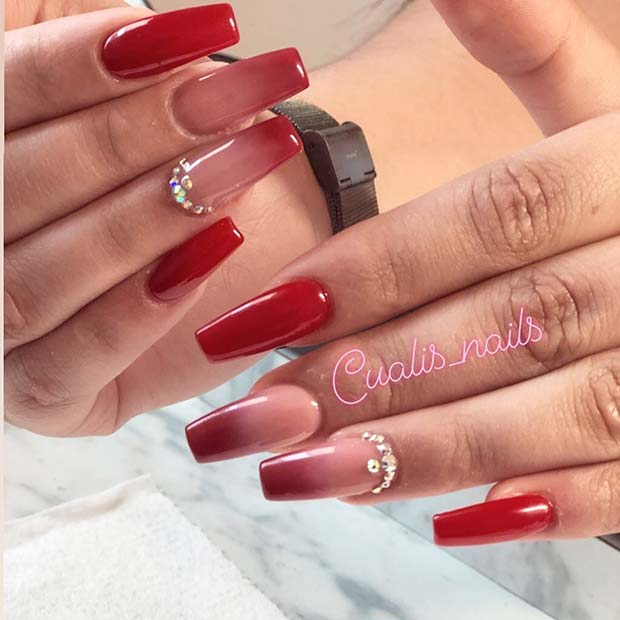 Rhinestone nude and red ombre nails