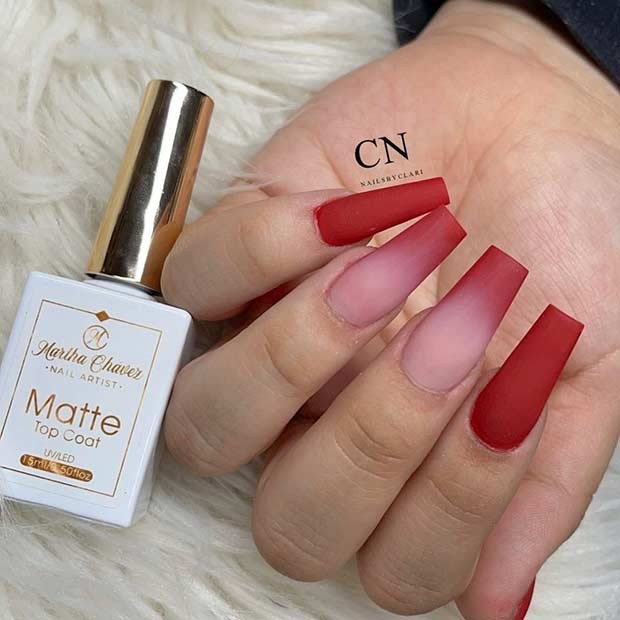 Matte red ombre nails