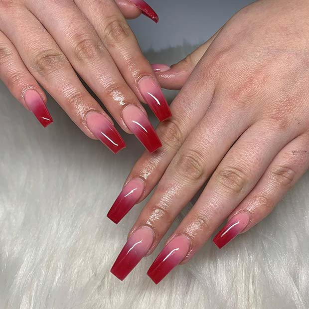 Pink and red ombre nail design