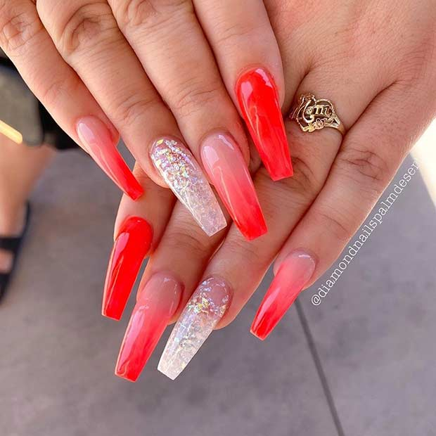 Long red ombre nails