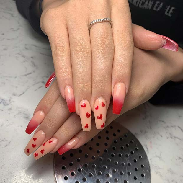 Red heart ombre nails