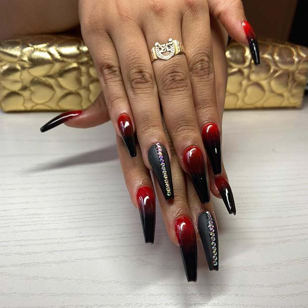 Edgy red and black ombre nails
