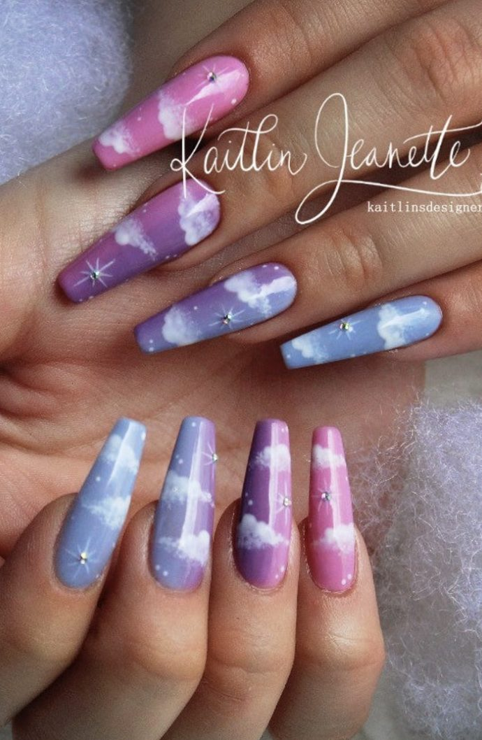 Cloudy pink and blue ombre nails