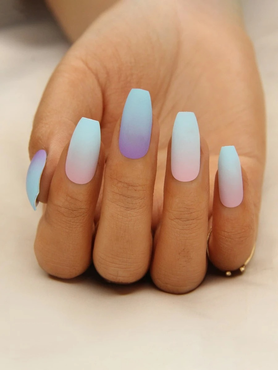 Purple, pink, and blue ombre nails