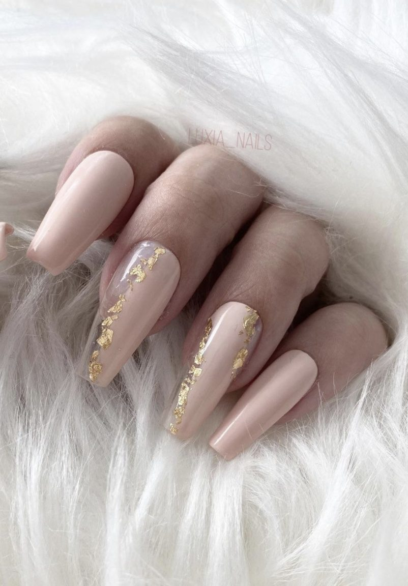 Pastel pink coffin nails with gold leaf