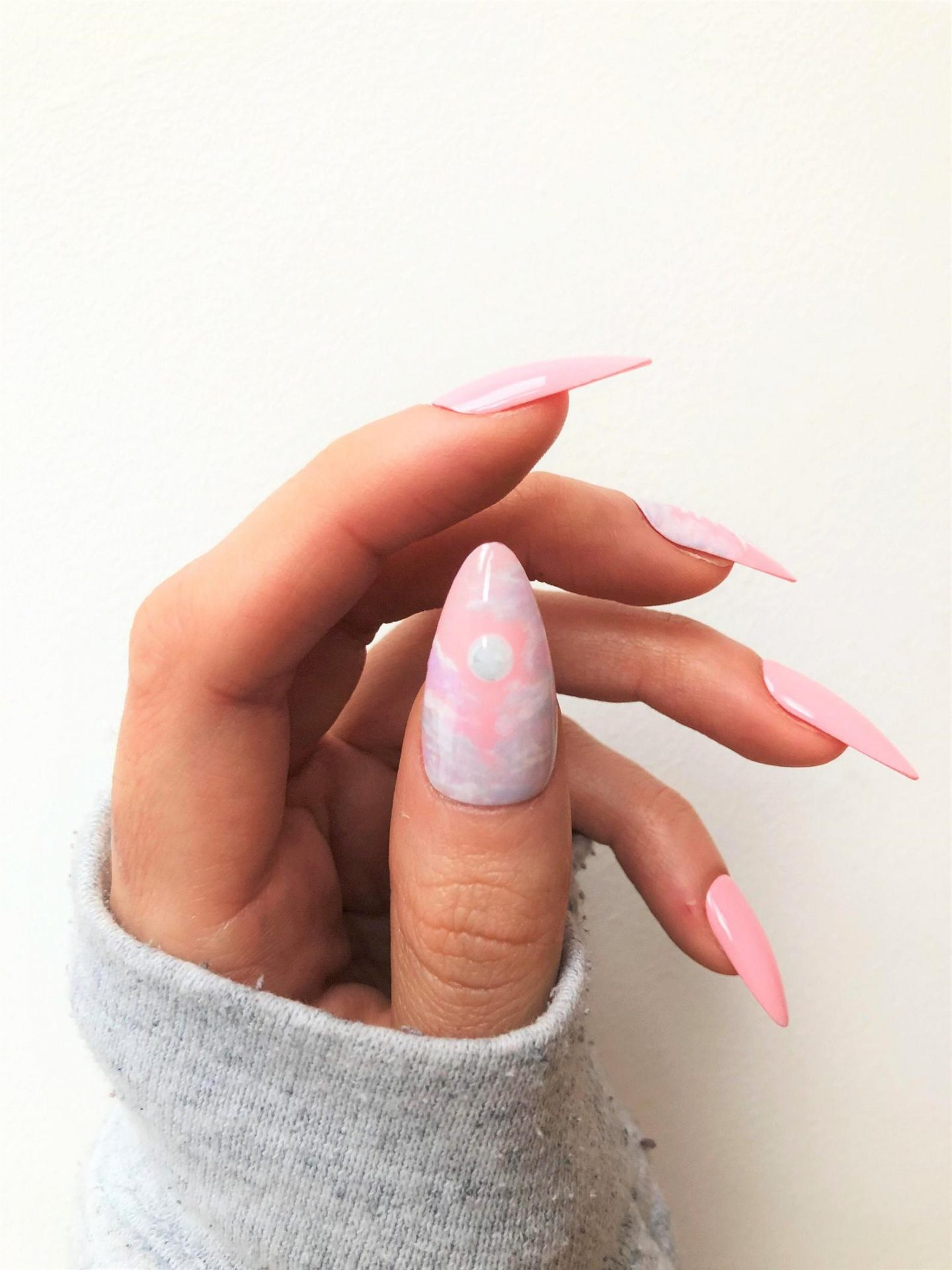 Pastel pink nails with nail art