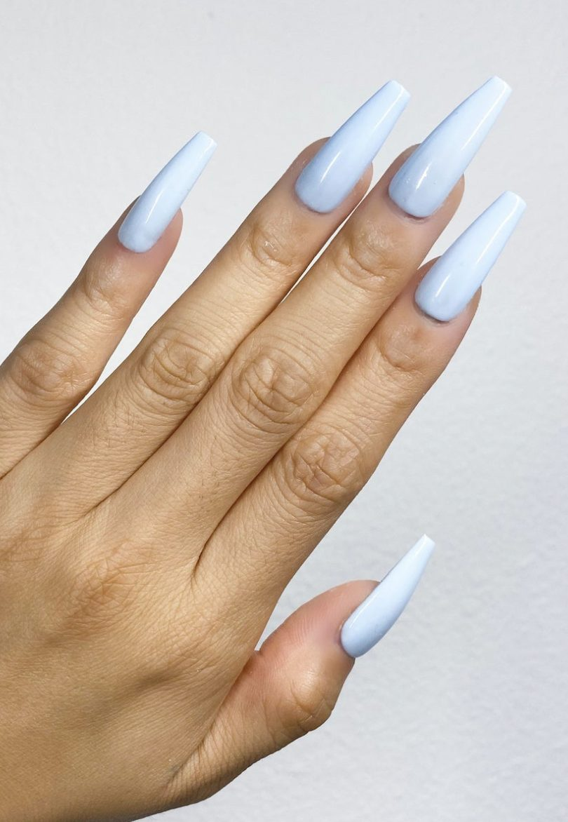 Pastel blue acrylic coffin nails