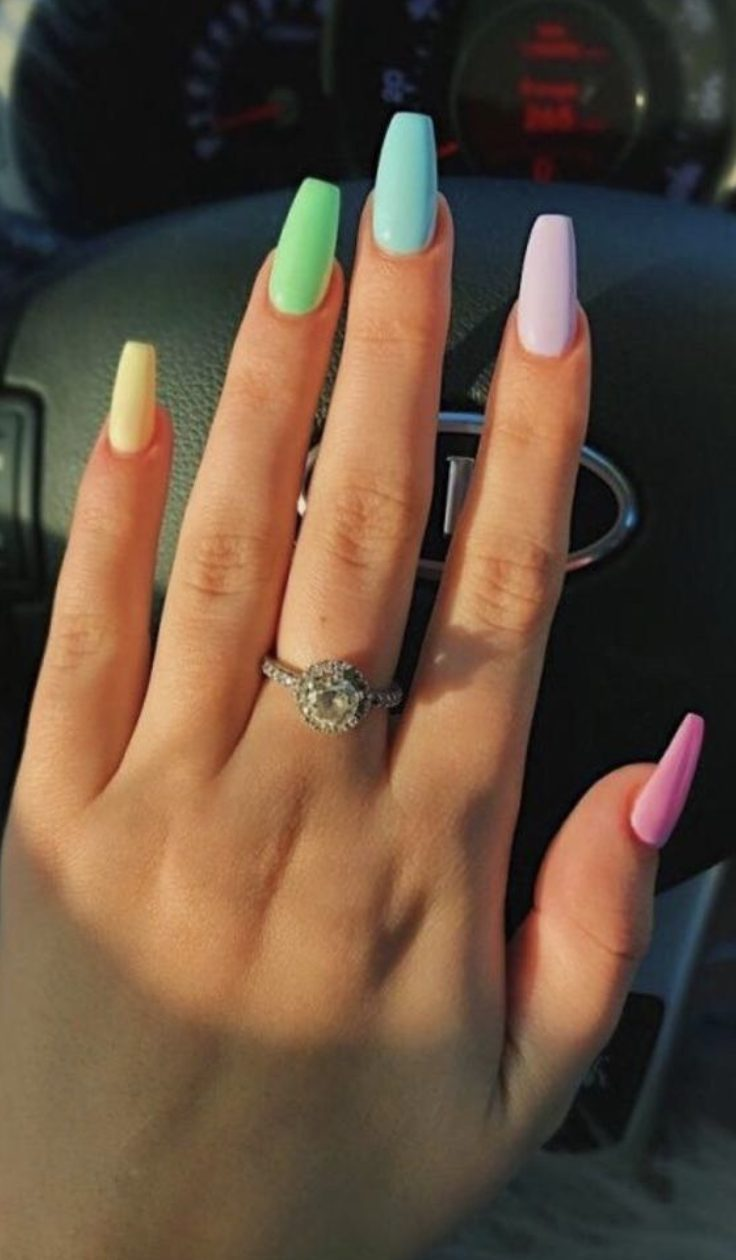 Pastel nails with yellow, green, blue, purple and pink: pastel ombre nails and pastel rainbow nails