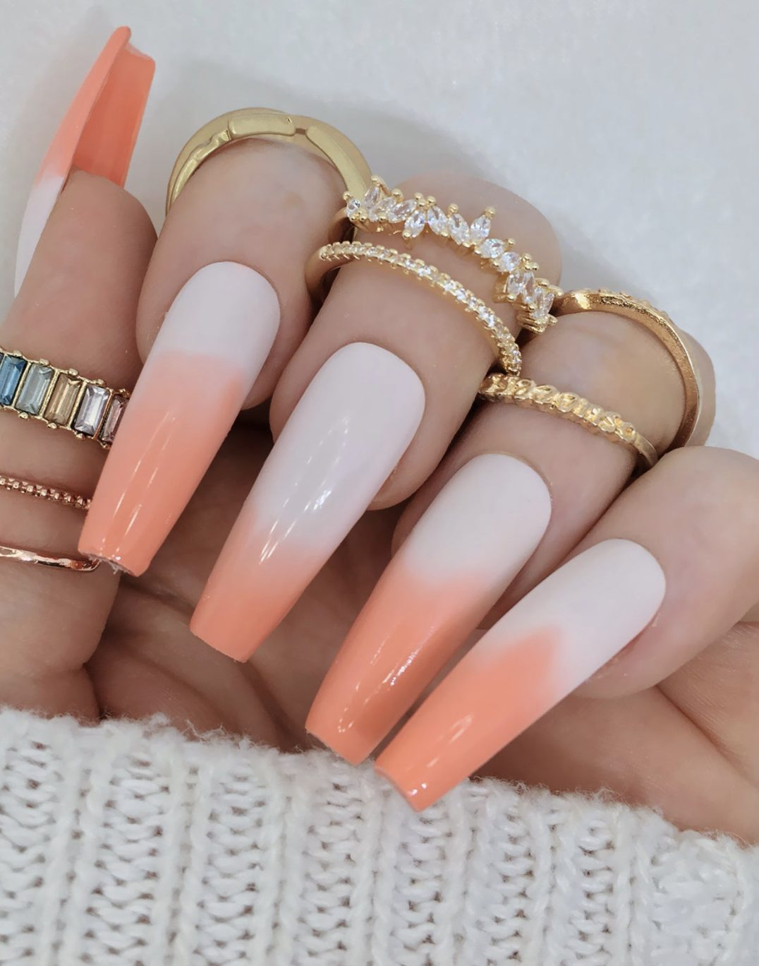 French tip peach ombre nails