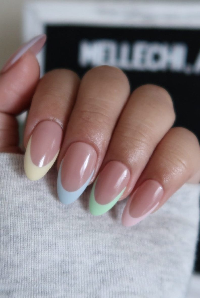 Pastel french tipped nails with pink, green, blue and yellow
