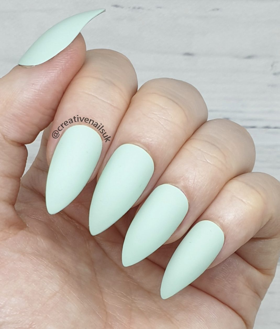 Matte pastel blue short thin nails