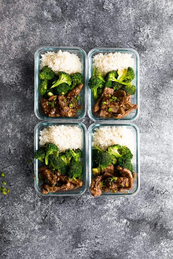 Light Mongolian beef preparation four bowls for meal preparation