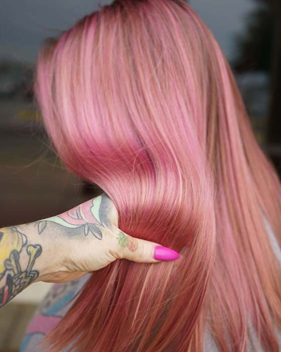 Nice pink hair color idea