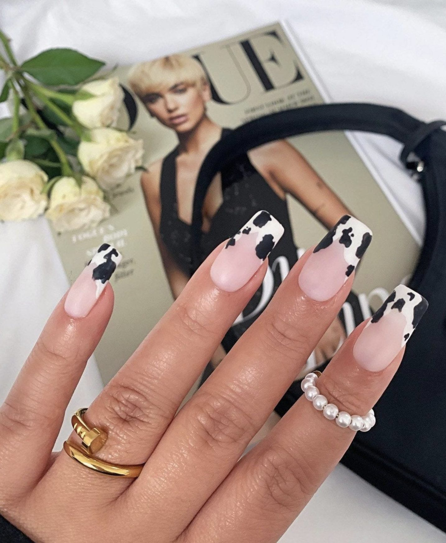 French tip and cow pattern nails