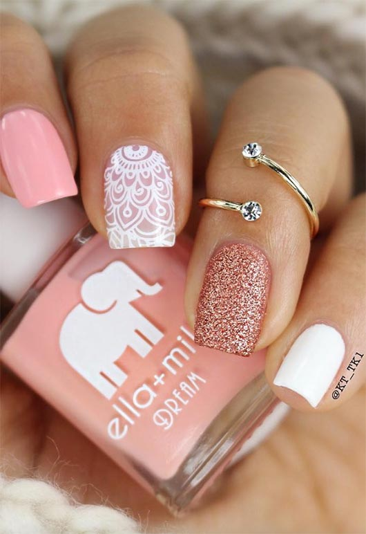 Glossy white and pink short nails