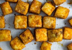 Crispy Spiced Baked Tofu | Sweet peas and saffron