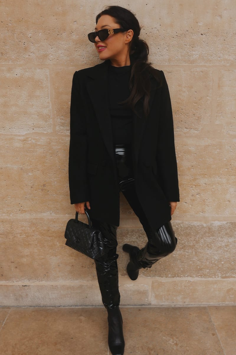 All black blazer with black faux leather leggings