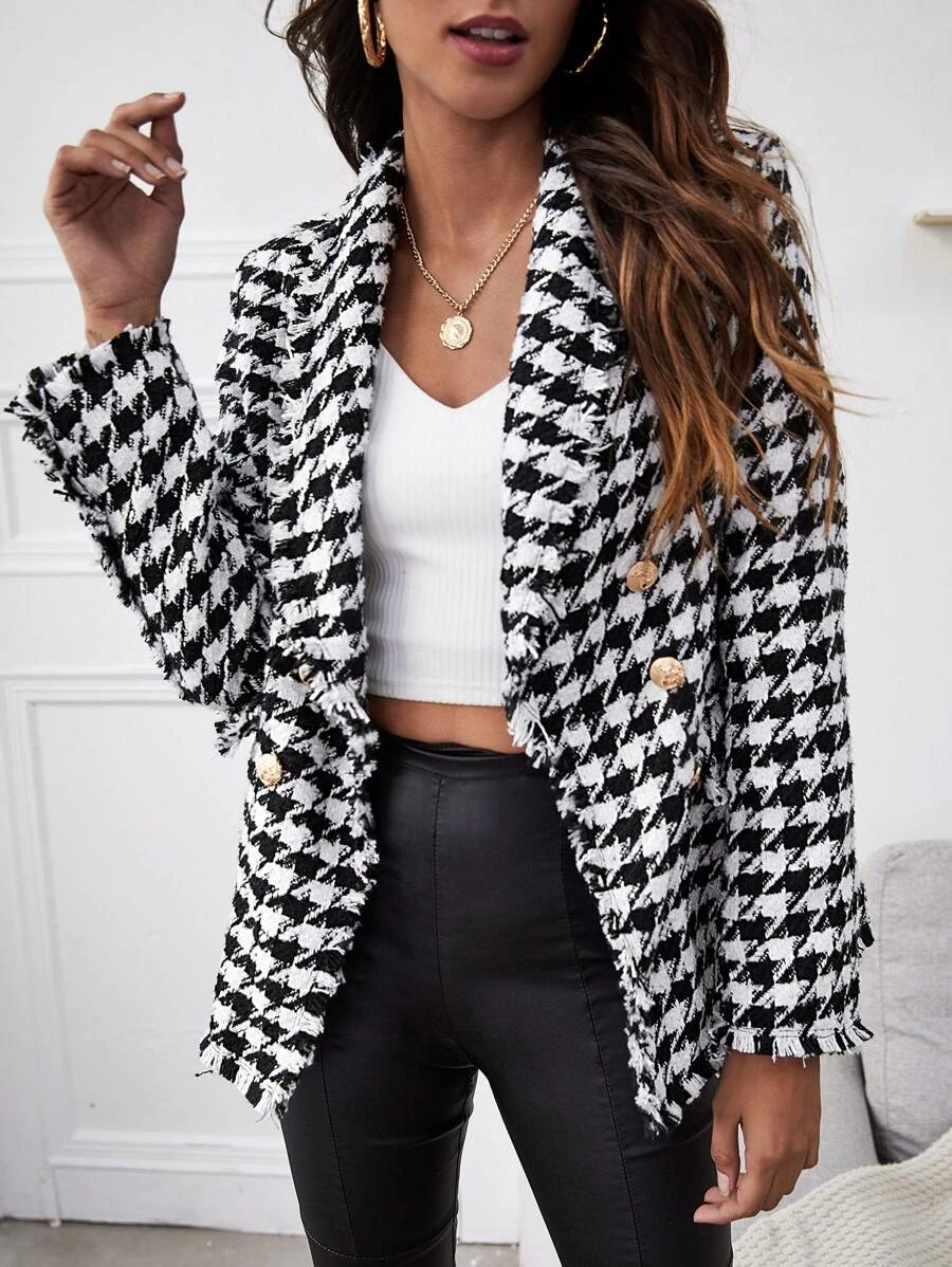 Black and white crowbar blazer outfit with faux leather leggings