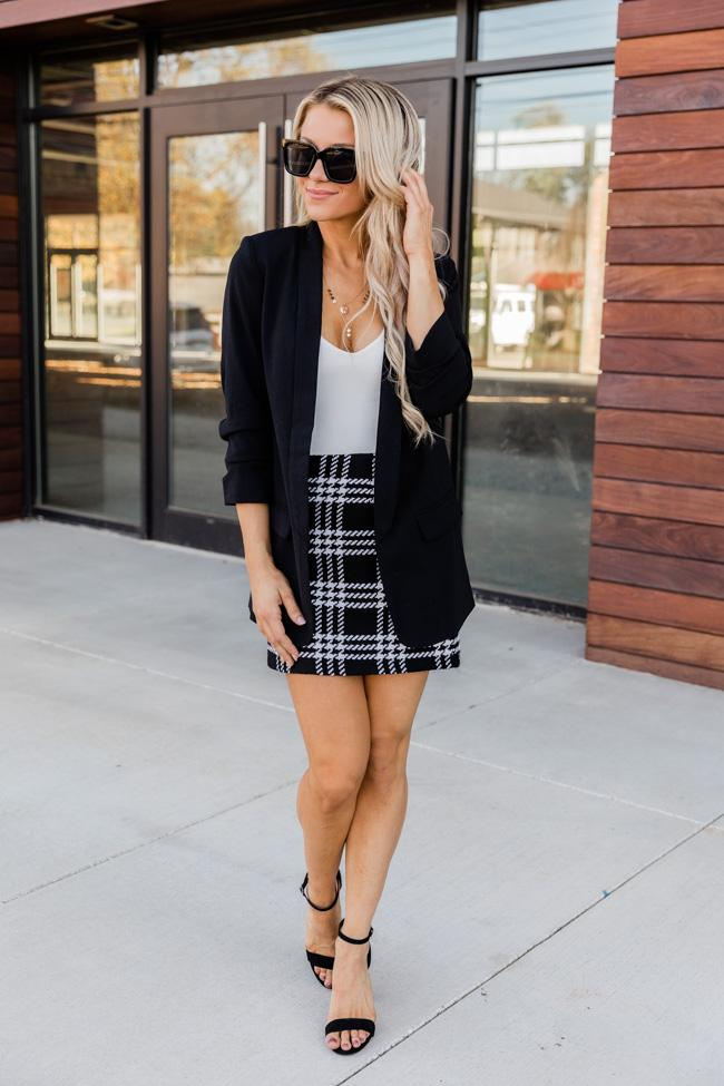 Business casual blazer with skirt