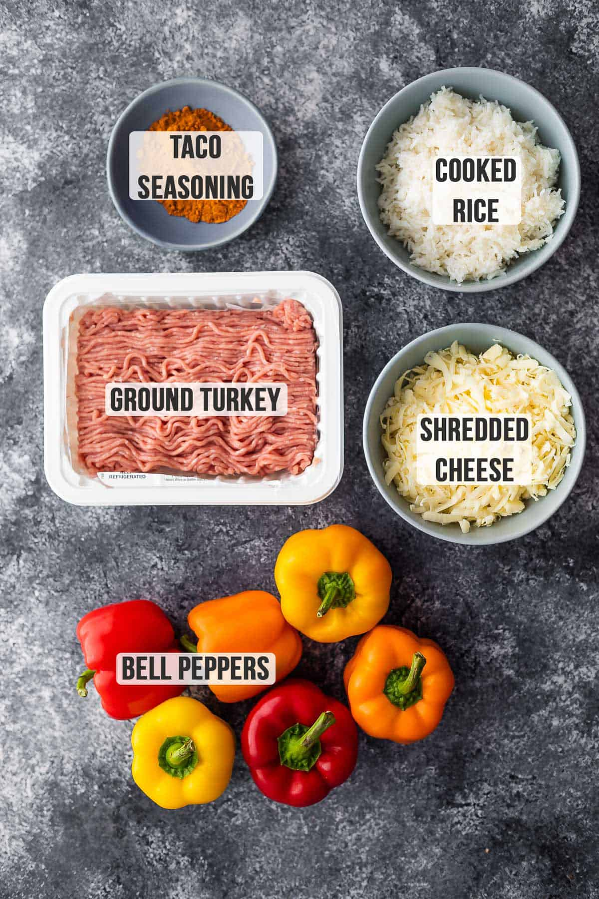Essential ingredients for making stuffed peppers