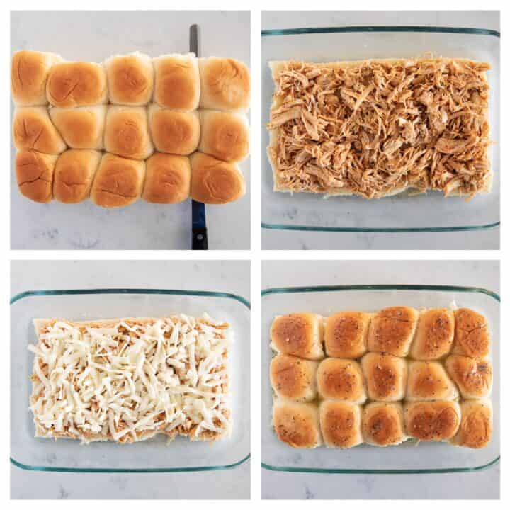 Collage showing how to assemble buffalo chicken pusher
