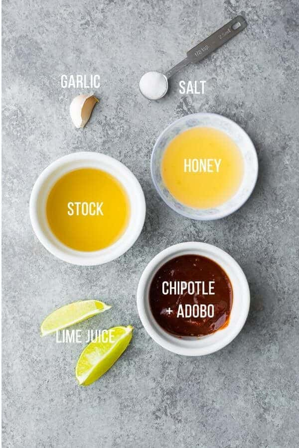 Necessary ingredients for ready-made pots of chipotle lime chicken