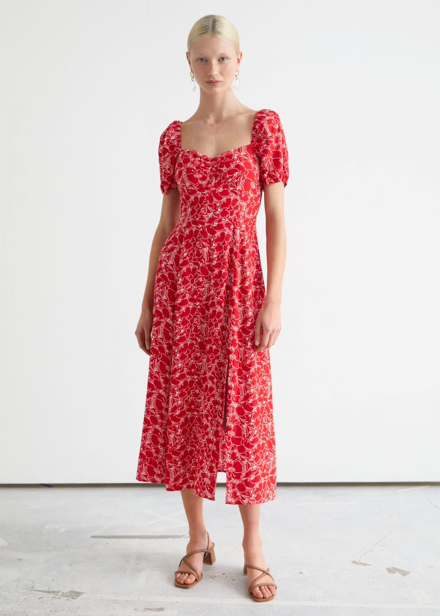Red flowery long dress